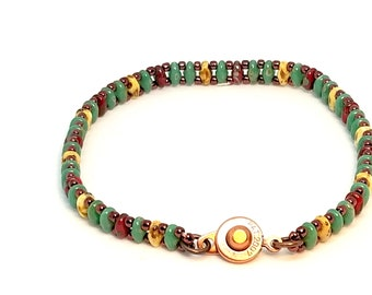 Green Superduo Bracelet, Superduo Bracelet, Friendship Gift, Delicate Bracelet