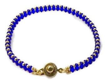Colbalt Blue Superduo Bracelet, Beaded Bracelet, Cool Bracelet, Friendship Gift