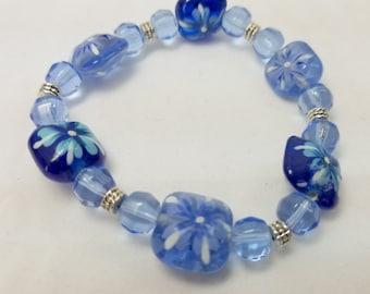 Lampwork Painted Bead Bracelet