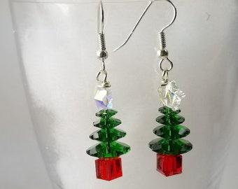 Crystal Star Christmas Tree Earrings