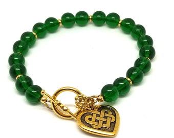 Emerald Green n Gold Bead Bracelet, St Patricks Day, Bead Bracelet