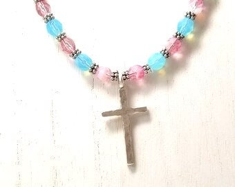 Cross Necklace, Friendship Gift, Bead Necklace