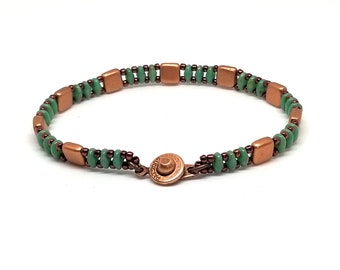 Turquoise n Copper Superduo Bracelet, Cool Bracelet, SuperDuo Bracelet