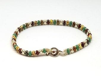 Green Superduo Bead Bracelet, Delicate Bracelet, Friendship Gift, Red and Chalk, Superduo Bracelet
