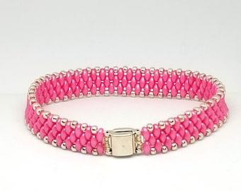 Pink Super Duo Bracelet, Bead Bracelet, Gift for Her
