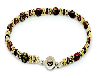 Red Travertine Honeycomb Bead Bracelet, Dainty Bracelet, Cool Bracelet