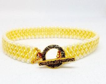 Pastel Cream Superduo Bracelet, Superduo Bracelet