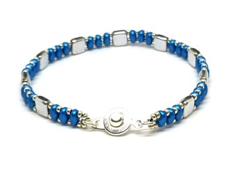 Blue Czech Tile Bracelet, Superduo Bracelet, Cool Bracelet, Gift for Bestfriend