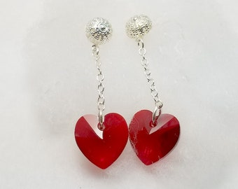 Swarovski Crystal Heart Dangle Earrings