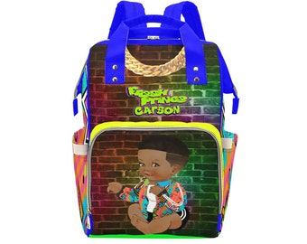 Nautical Boy Diaper Bag African American Baby Girl Backpack Personalized Diaper Clothing Bottles Bag Print Baby Shower Gift Mommy Daddy Afro