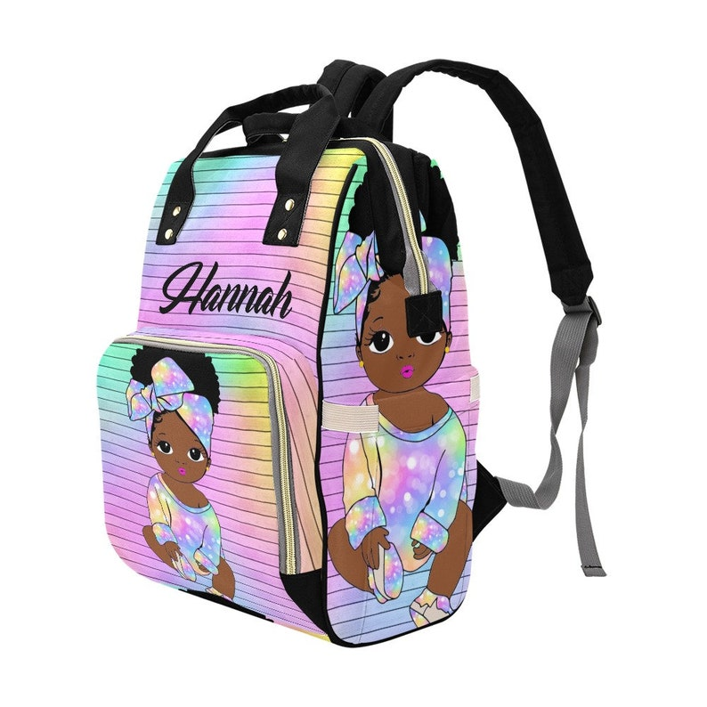 Multicolored Printed African American Baby Girl Backpack Personalized Diaper Clothing Bottles Bag Print Baby Shower Gift Mommy Daddy Afro