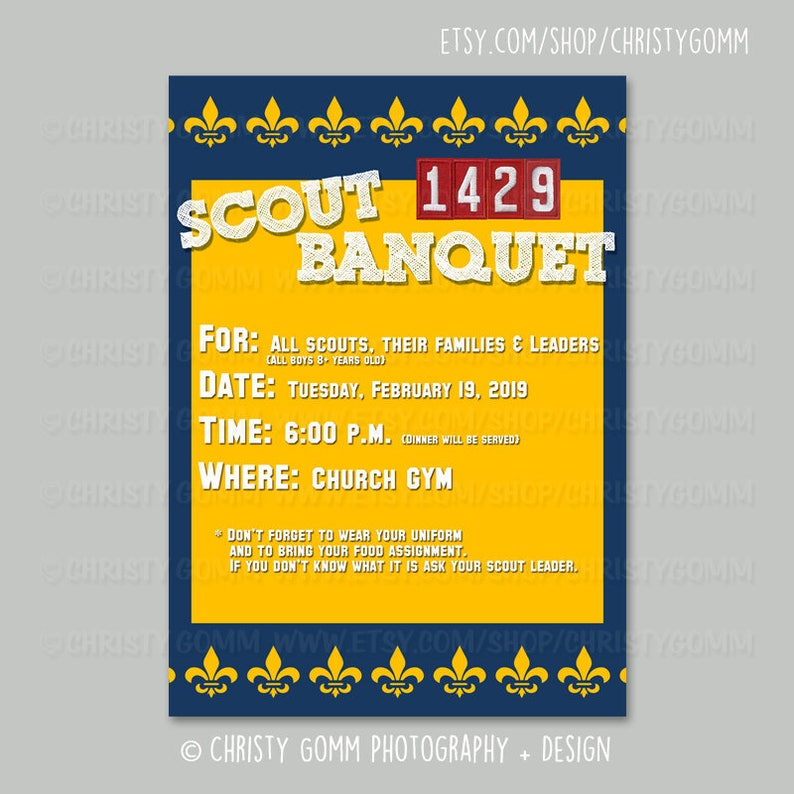 Boy Scout Or Cub Scout Invitation Card 5x7 Psd Template Etsy