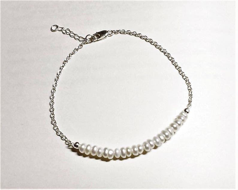 Cultured Pearls Gift for Her White Freshwater Pearls and Sterling Silver Bar Bracelet Birthstone for June Pearl UK Seller