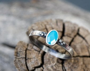 Turquoise engagement ring: Dainty turquoise ring- Hammered silver ring - Turquoise promise ring- December birthstone - Valentine's day gift