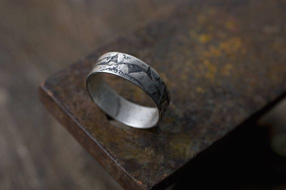 Unique Men Wedding Band Unusual Engagement Rings Two Tone Etsy