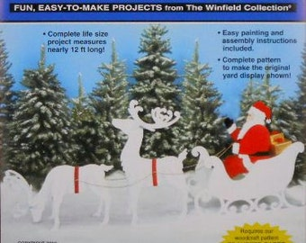 Large Santa, Sleigh and Reindeer Wood Craft Pattern