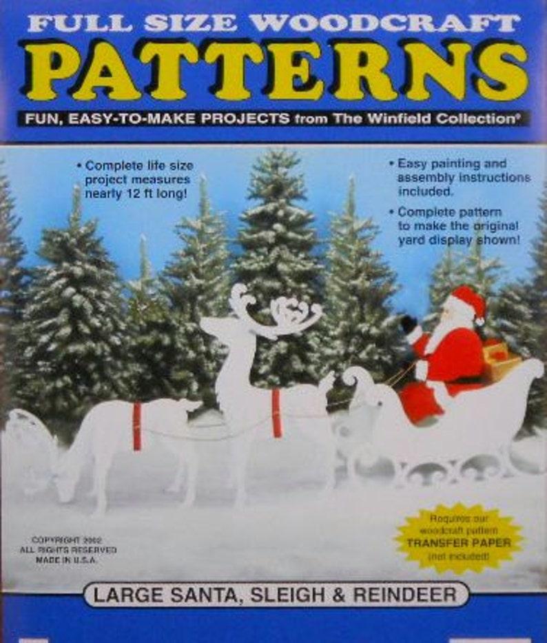 Large Santa Sleigh And Reindeer Wood Craft Pattern