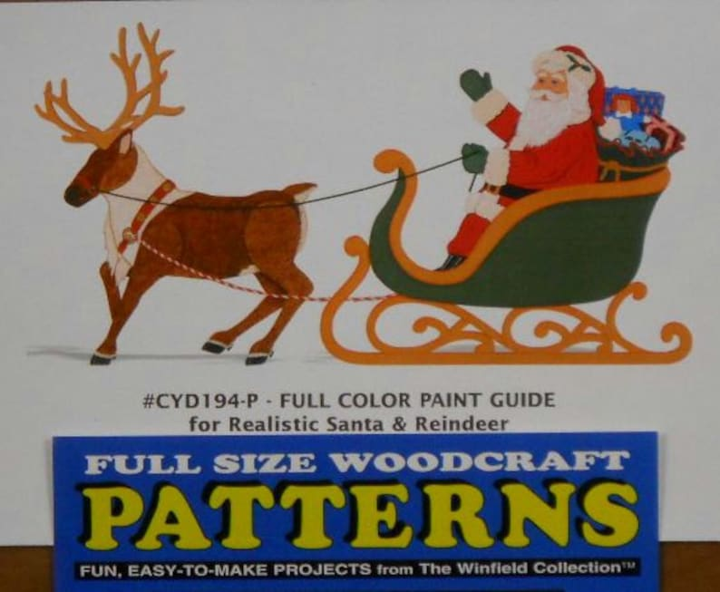 Realistic Santa With Sleigh And Reindeer Wood Craft Pattern