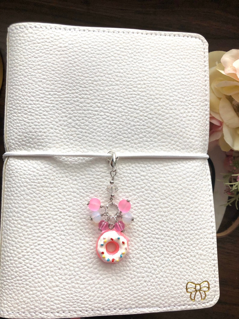 Pink and white donut Dangle Planner Charm-Gift Idea Midori image 0