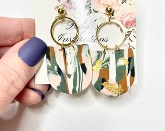 Clay Earrings Arc Statement Earrings-GiftS for her - Multi color white, beige, green, black and gold