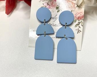 Light Blue Statement Earrings-Gift-Wedding