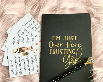 Trusting God Notebook and Pen set - Gift Idea Quote Cards Journal