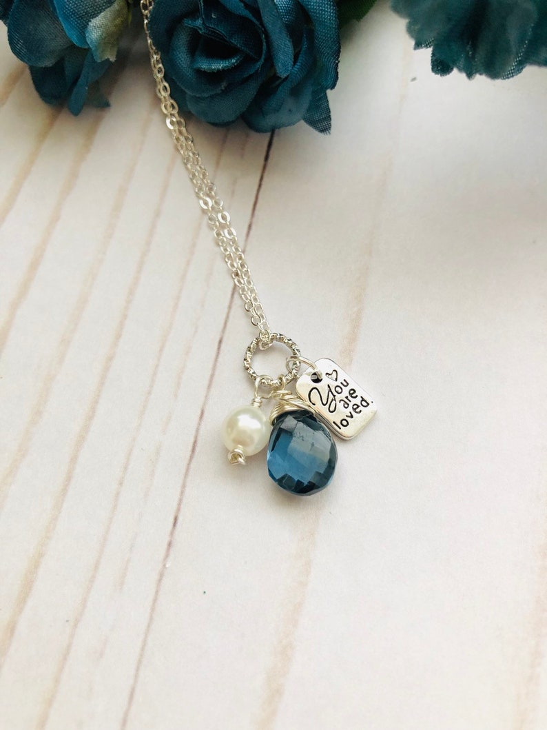 You Are Loved London Blue Topaz Silver Necklace image 0