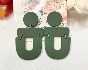 Army Green Statement Earrings-Gift-Wedding