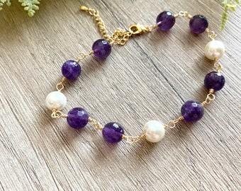 Purple Amethyst and Pearls Gold  bracelet-Wedding Bridesmaid Gift Fall