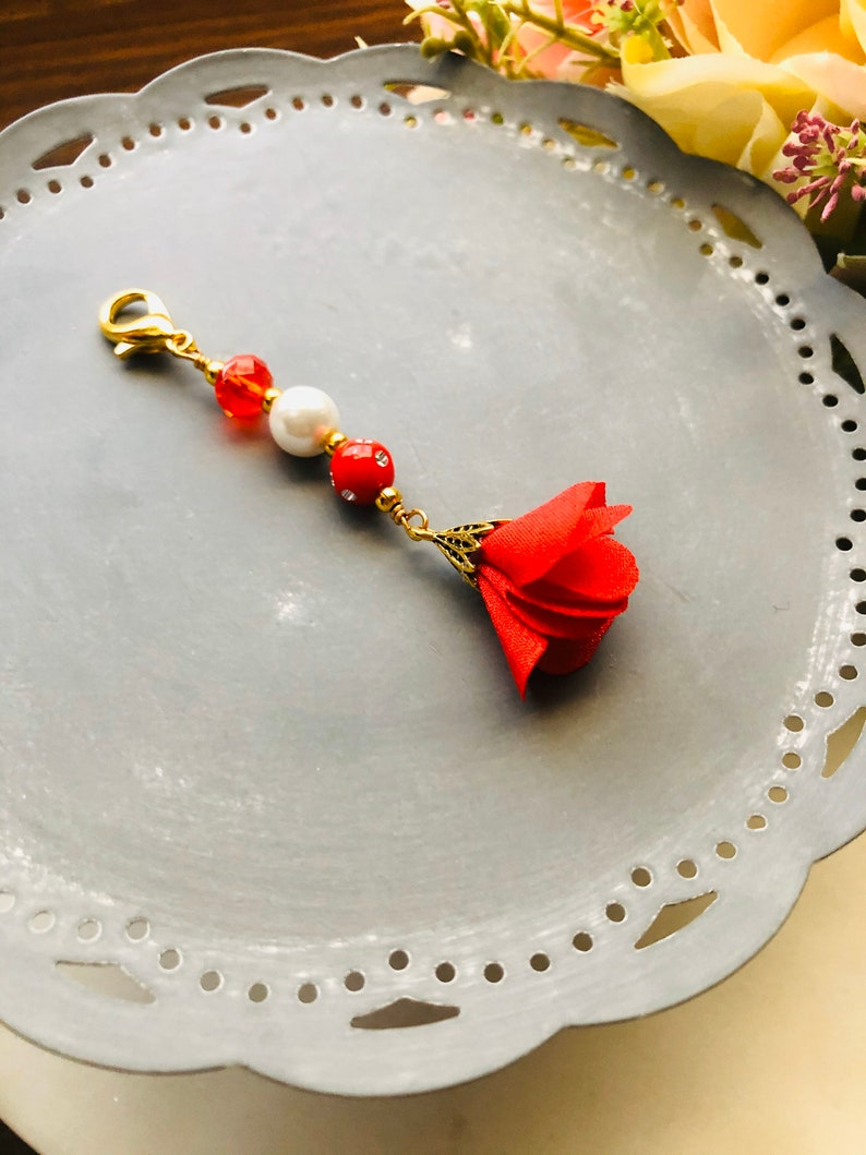 Red Flower Pearls and Crystal Planner Charm-Gift Idea Midori image 0