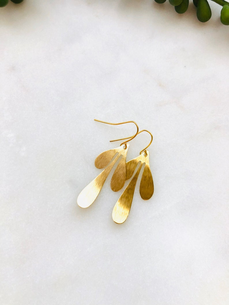 Leaf Statement Earrings Brass Gold Tone Gift Idea image 0