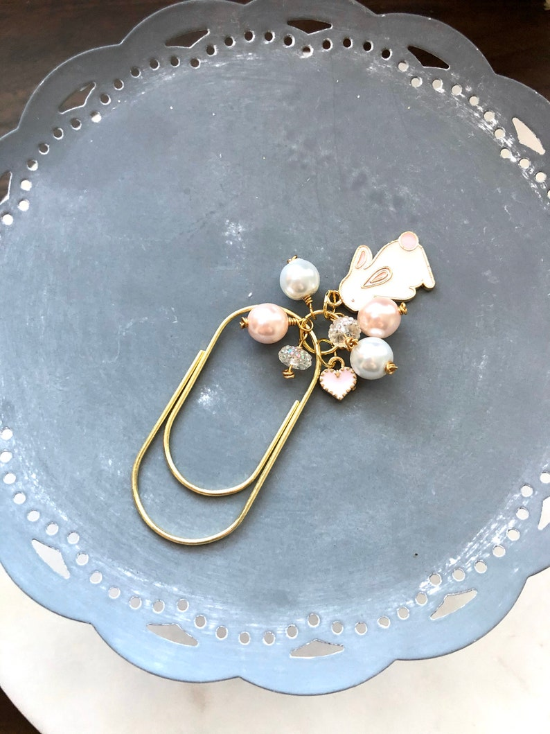 Bunny Rabbit Pink and White Pearl Gold paper clip Planner clip image 0
