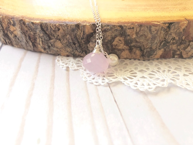 Light Pink Chalcedony Silver Necklace image 0