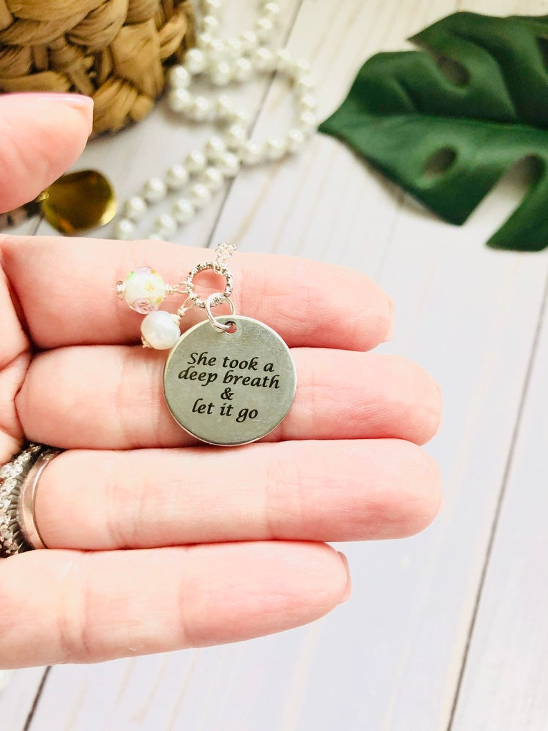 She took a deep breath and let it go Silver Necklace image 0
