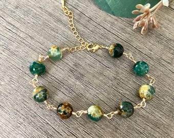 Green Agate Gold  bracelet-Wedding Bridesmaid Gift Summer