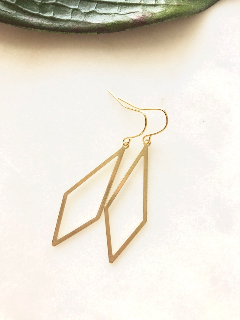 Diamond Statement Earrings Brass Gold Tone Gift Idea image 0