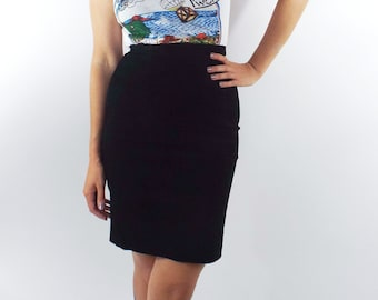 Vintage Express High Waisted Black Suede Pencil Skirt -- Size 25/26