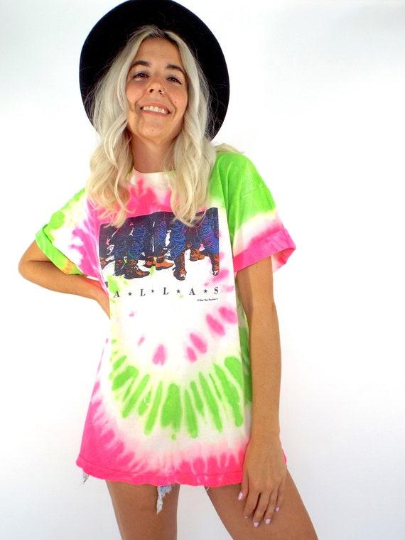 Vintage 80s Neon Pink and Green Tie Dye Dallas, Te