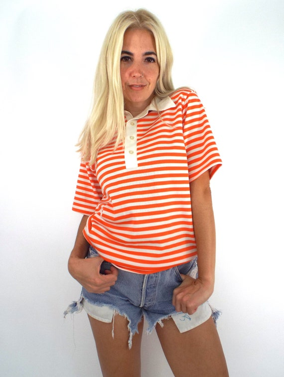 Vintage 70s Polyester Striped Polo Top