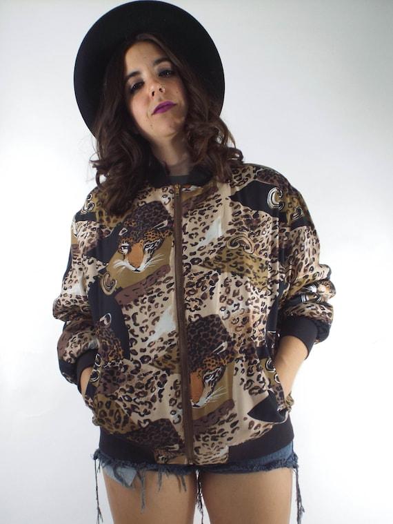 Vintage Silk Leopard Print Bomber Jacket