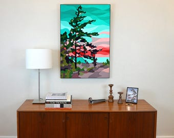 Lake Huron Beach Pine | Nature Print, Blue Water, Nature Art, Landscape Painting, Tree Art, Evergreen, Landscape Art, Coral