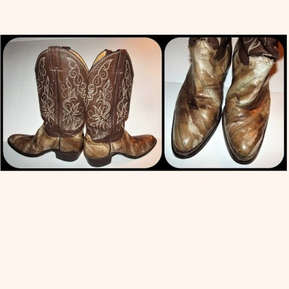 2a106bffe2f Vintage Justin Eel Skin Leather Cowboy Boots 7.5 D