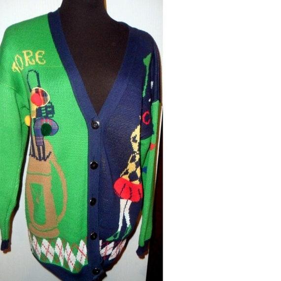 219f59c280 Preppy 70 s 80 s Golf Cardigan Sweater Men s S