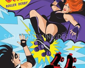 Roller Derby Super Hero Poster