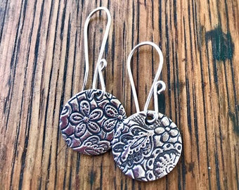 Simple Sterling Silver and PMC Paisley and Floral Earrings