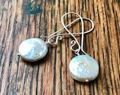 Large White Freshwater Pearl Coins on Long Silver Ear Wires