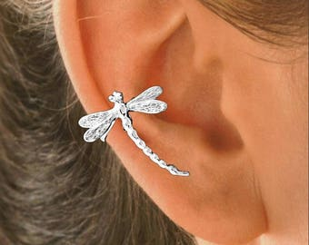 Dragonfly Ear Cuff IN Sterling Silver or Gold Vermeil   #99-SM-EA