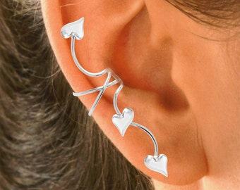 Ear Charms™ Ear Cuff Non-pierced Earring Wraps, 3 HEART Full Ear Spray in Solid Sterling Silver or Gold or Rhodium on Silver for EZ Care