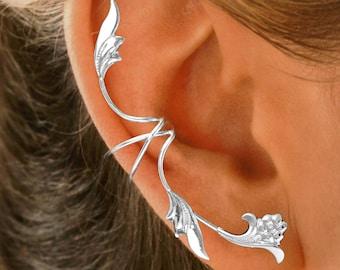 Ear Charms® Beautiful Flower & Leaf Ear Cuff Non-Pierced Full Ear Spray Earring Climber, Beautiful Sterling Silver, or Gold or Rhodium over