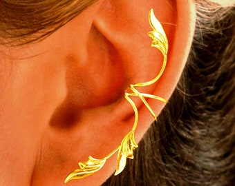 Full Ear Delicate 3 Leaf, All 1 Piece, Ear Cuff Non-pierced Earring Wraps in E Z Care Gold or Rhodium Over Sterling Silver
